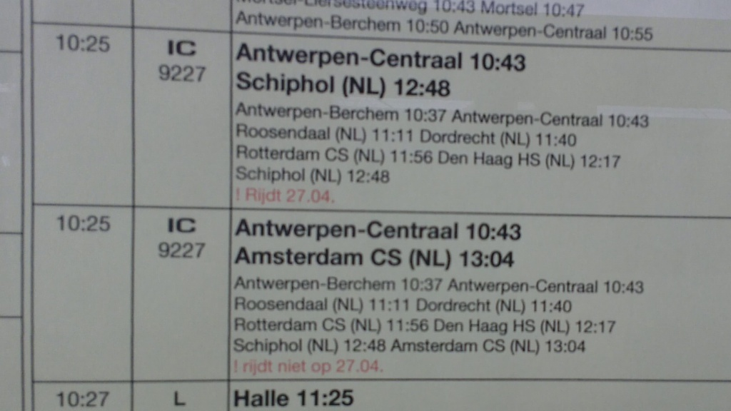 Trein naar Schiphol/Amsterdam, vertrekstaat Mechelen