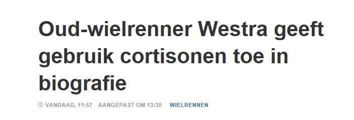 Westra geeft cortisonen toe